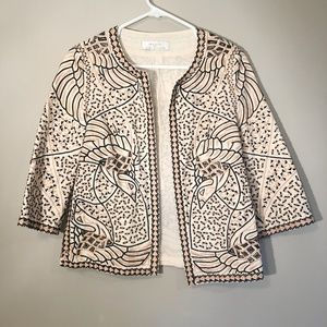 Zara | Embroidered Blazer Open Front Sz S
